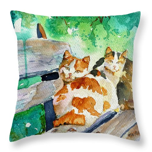 Cat Throw Pillow featuring the painting 3 On A Bench by P Maure Bausch