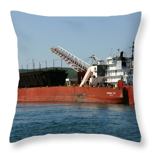 Ship Throw Pillow featuring the photograph Presque Isle Ship by Lori Tordsen
