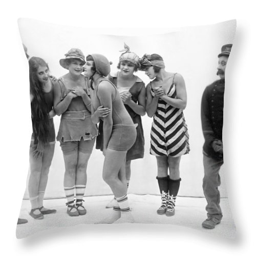 -bathing: Women's Suit & Pool- Throw Pillow featuring the photograph Silent Still: Bather by Granger