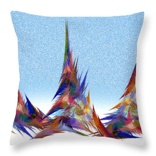 Teepee Throw Pillow featuring the digital art 3 Teepees Snow Storm by Andee Design