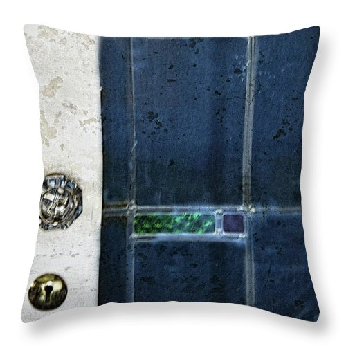 Blue Door Throw Pillow featuring the photograph The Blue Door by Carolyn Fox