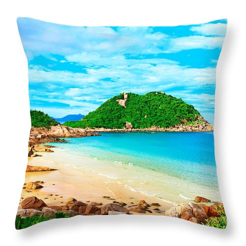 Background Throw Pillow featuring the photograph Tropical Lagoon by MotHaiBaPhoto Prints