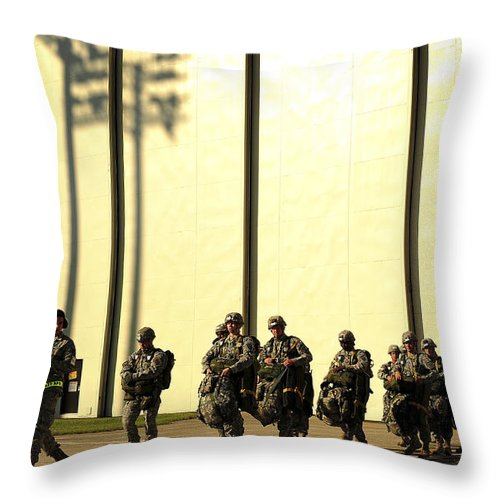 Men Throw Pillow featuring the photograph U.s. Army Soldiers Prepare To Board by Stocktrek Images