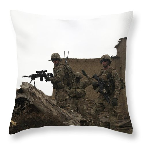 Operation Enduring Freedom Throw Pillow featuring the photograph U.s. Army Soldiers Provide Security by Stocktrek Images