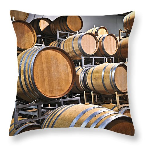 Barrels Throw Pillow featuring the photograph Wine Barrels by Elena Elisseeva
