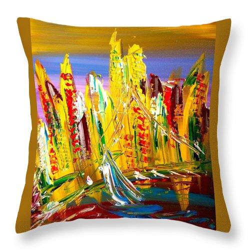 Throw Pillow featuring the mixed media City by Mark Kazav