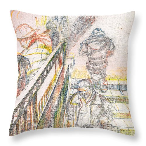 Subway Throw Pillow featuring the drawing 34th Street Subway Entrance Nyc by Al Goldfarb
