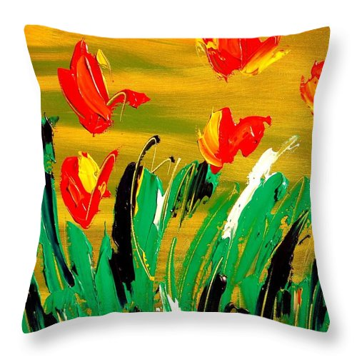 Throw Pillow featuring the mixed media Tulips by Mark Kazav