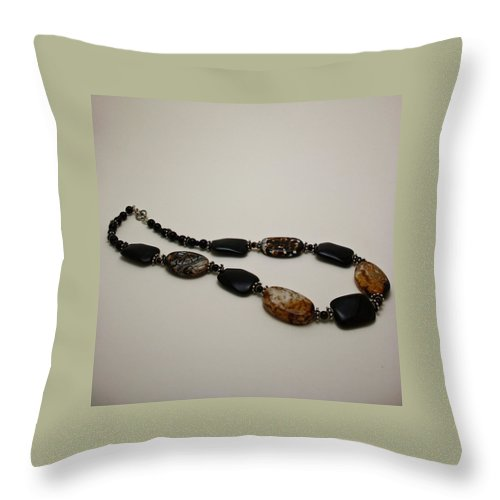 Original Handmade Jewelry Throw Pillow featuring the jewelry 3617 Crackle Agate And Onyx Necklace by Teresa Mucha