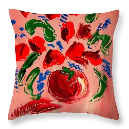 Landscape Framed Prints Throw Pillow featuring the mixed media Tulips by Mark Kazav