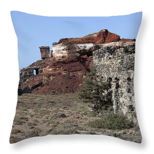 Day Throw Pillow featuring the photograph Abandoned Manganese Mine At Cape Vani by Richard Roscoe