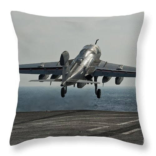 Operation Enduring Freedom Throw Pillow featuring the photograph An Ea-6b Prowler Launches by Stocktrek Images
