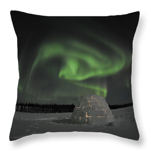 Yellowknife Throw Pillow featuring the photograph Aurora Borealis Over An Igloo On Walsh by Jiri Hermann