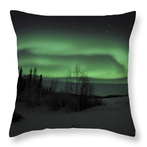 Yellowknife Throw Pillow featuring the photograph Aurora Borealis Over Vee Lake by Jiri Hermann