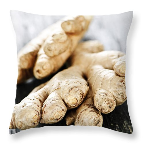 Ginger Throw Pillow featuring the photograph Ginger Root by Elena Elisseeva