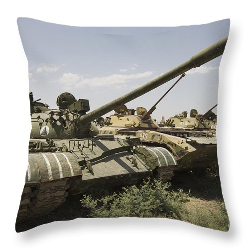 Tracked Vehicles Throw Pillow featuring the photograph Russian T-54 And T-55 Main Battle Tanks by Terry Moore