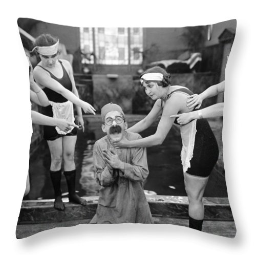 1920s Throw Pillow featuring the photograph Silent Still: Bathers by Granger
