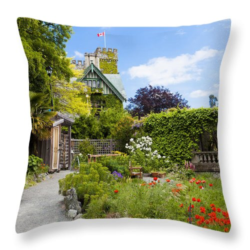 Color Image Throw Pillow featuring the photograph The Gardens Of Royal Roads University by Taylor S. Kennedy