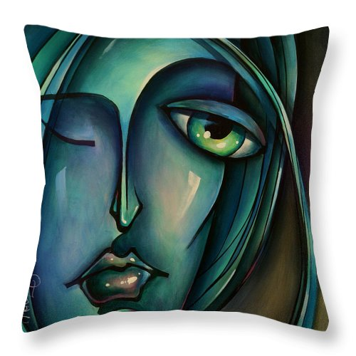 Urban Expressions Throw Pillow featuring the painting Waiting by Michael Lang