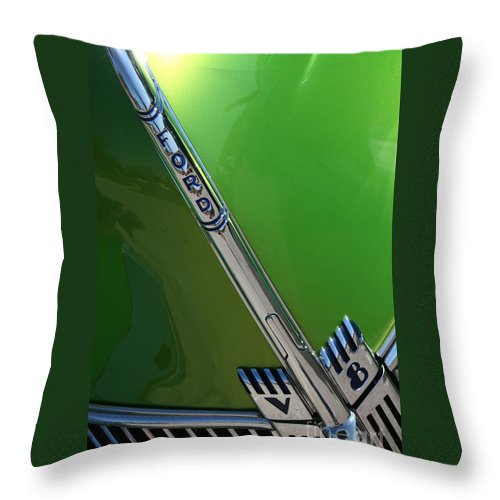 1940 Throw Pillow featuring the photograph 40 Ford - Grill Detail-8610 by Gary Gingrich Galleries