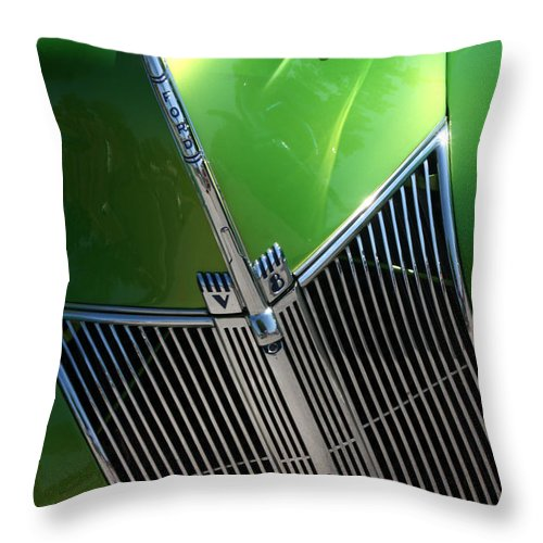 1940 Throw Pillow featuring the photograph 40 Ford - Grill Detail-8618 by Gary Gingrich Galleries