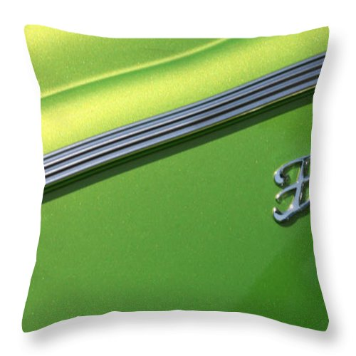 1940 Throw Pillow featuring the photograph 40 Ford - Logo-8589 by Gary Gingrich Galleries