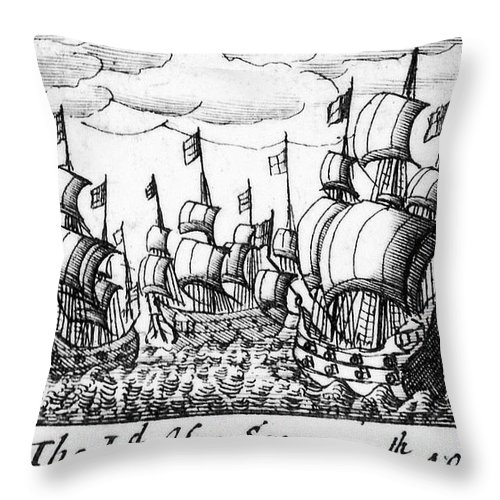 1588 Throw Pillow featuring the photograph Spanish Armada, 1588 by Granger