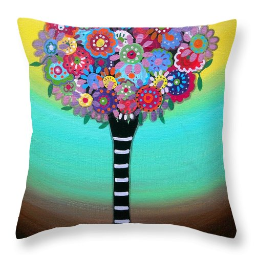Tree Of Hope Life Pristine Flowers Trees Blooms Prisarts Mexican Original Painting Happy Fall Autumn Summer Birthday Gift Bar Bat Mitzvah Congratulations Baby Room Nursery Home Design Cartera Turkus Throw Pillow featuring the painting Tree Of Life by Pristine Cartera Turkus
