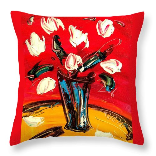 Throw Pillow featuring the painting Tulips by Mark Kazav