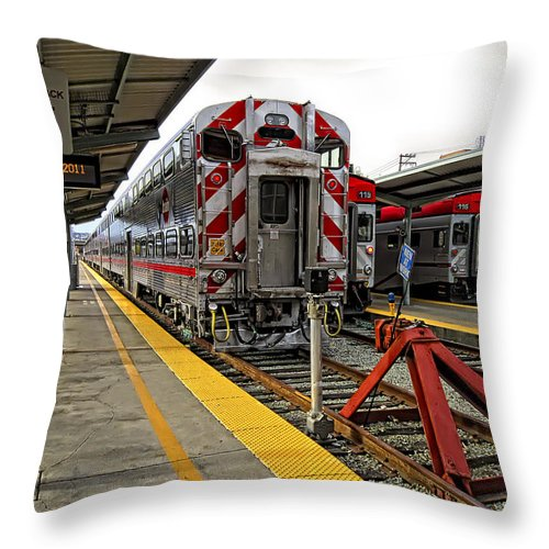 Caltrains Throw Pillow featuring the photograph 4th And King St. Caltrains Station - San Francisco by Daniel Hagerman