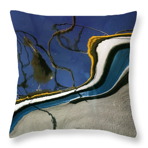 Bank Throw Pillow featuring the photograph Boat Reflections At Sea by Stelios Kleanthous