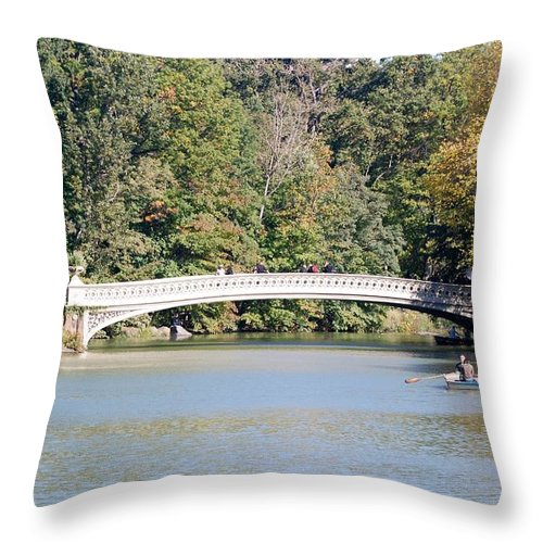 Central Park Throw Pillow featuring the photograph Bow Bridge by Rob Hans