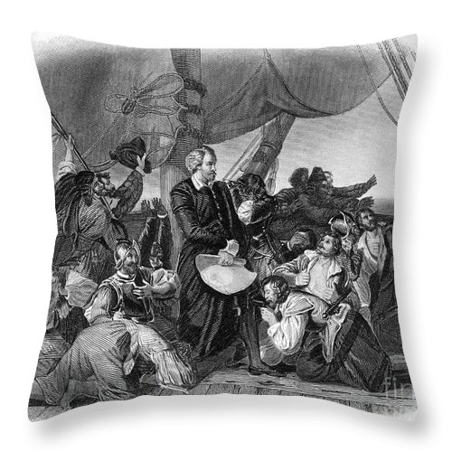 1492 Throw Pillow featuring the photograph Christopher Columbus by Granger