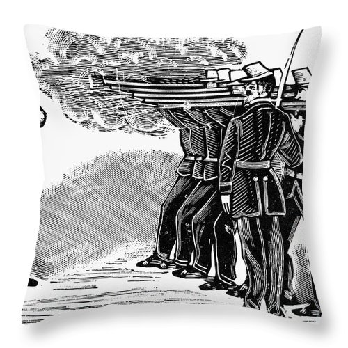 1910 Throw Pillow featuring the photograph Posada: Firing Squad by Granger