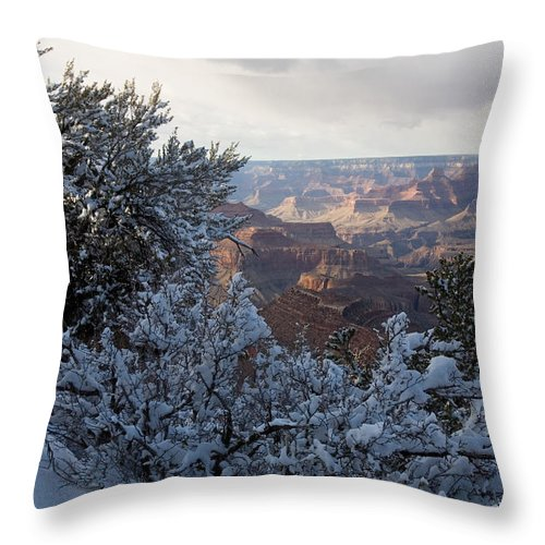 National Park Throw Pillow featuring the photograph Winter Time On The South Rim by Michael S. Lewis