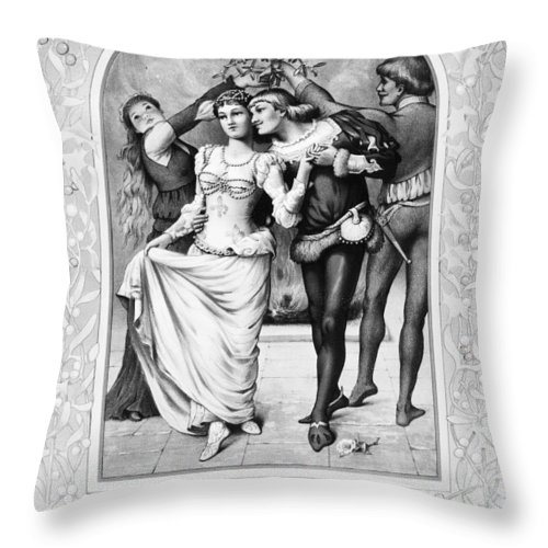1886 Throw Pillow featuring the photograph American Christmas Card by Granger