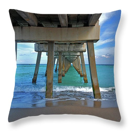 Throw Pillow featuring the photograph 50- Juno Pier by Joseph Keane