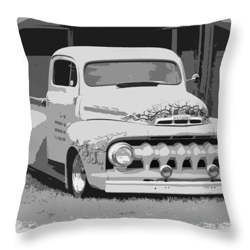 Chopped Throw Pillow featuring the photograph 51 Ford Pickup by Steve McKinzie