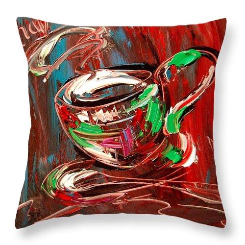 Throw Pillow featuring the mixed media Coffee by Mark Kazav