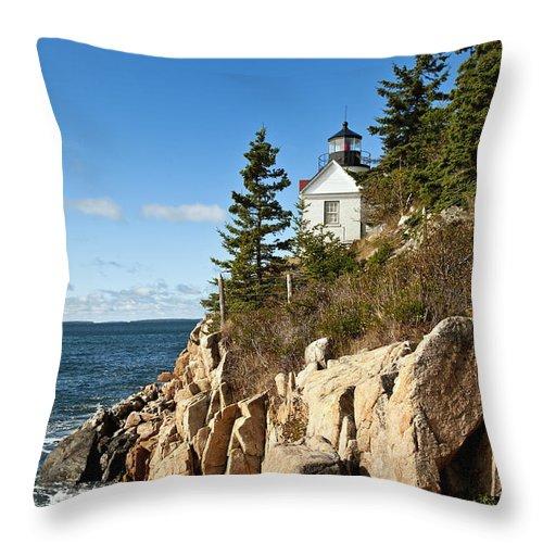 Acadia National Park Throw Pillow featuring the photograph Bass Harbor Lighthouse by John Greim