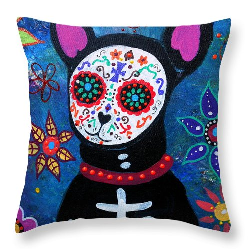 Day Of The Dead Throw Pillow featuring the painting Chihuahua Day Of The Dead by Pristine Cartera Turkus