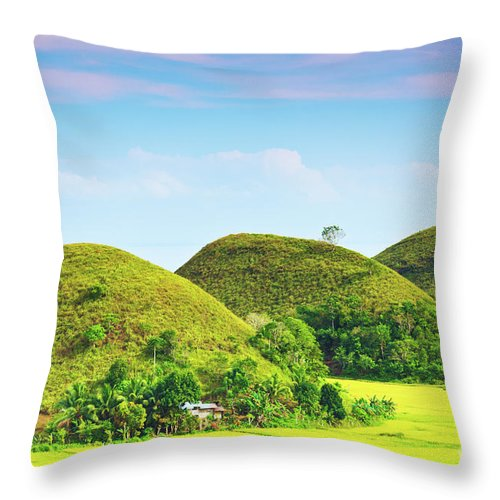 Green Throw Pillow featuring the photograph Chocolate Hills by MotHaiBaPhoto Prints
