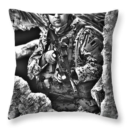 Helmet Throw Pillow featuring the photograph Hdr Image Of A German Army Soldier by Terry Moore
