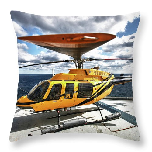 Rotorcraft Throw Pillow featuring the photograph A Bell 407 Utility Helicopter by Terry Moore