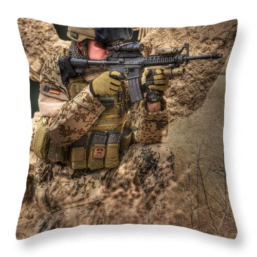 Kneeling Throw Pillow featuring the photograph Hdr Image Of A German Army Soldier by Terry Moore