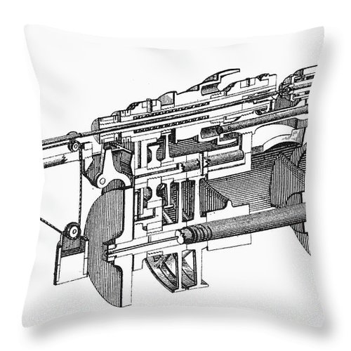 1884 Throw Pillow featuring the photograph Screw-making Machine by Granger