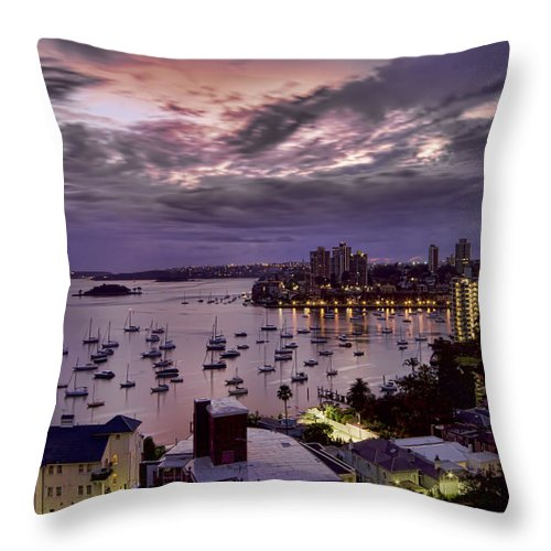 Macleay Street Throw Pillow featuring the photograph 7th Floor View Macleay Street Potts Point Sydney Early Morning by Douglas Barnard
