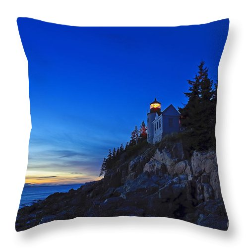 Bass Harbor Throw Pillow featuring the photograph Bass Harbor Lighthouse by John Greim