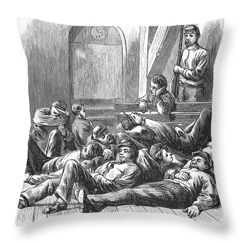 1877 Throw Pillow featuring the photograph Great Railroad Strike, 1877 by Granger
