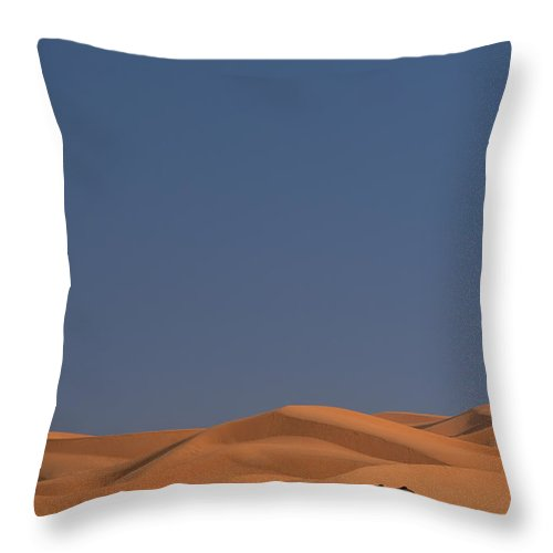 Blue Sky Throw Pillow featuring the photograph Merzouga, Morocco by Axiom Photographic